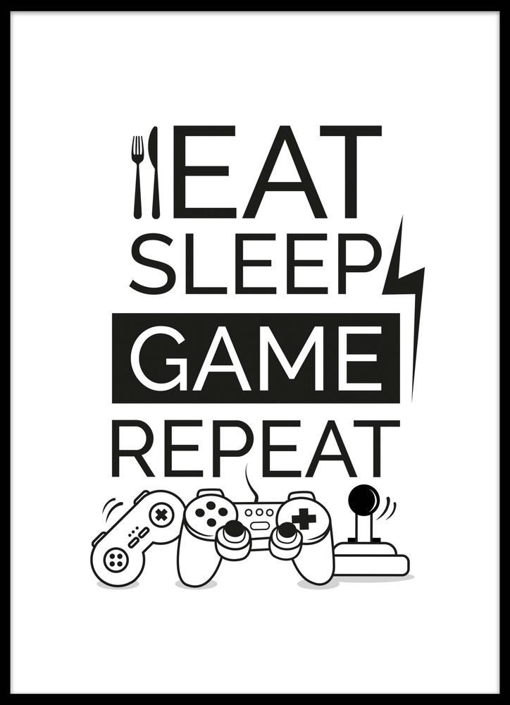 Eat sleep game repeat symbols poster