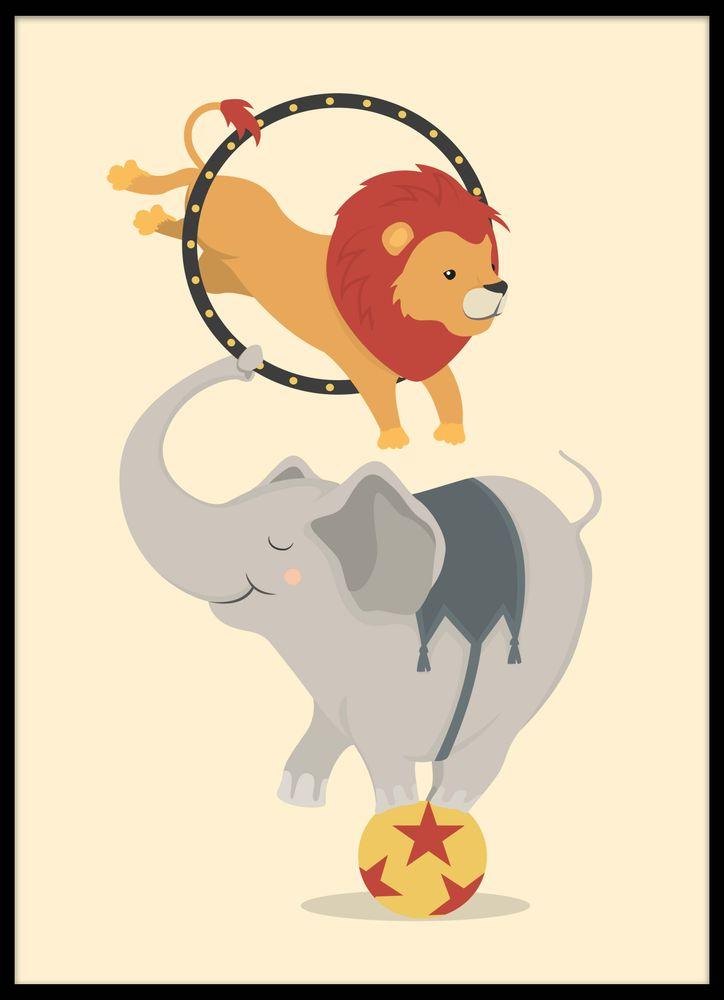 Elefant och lejon på cirkus poster