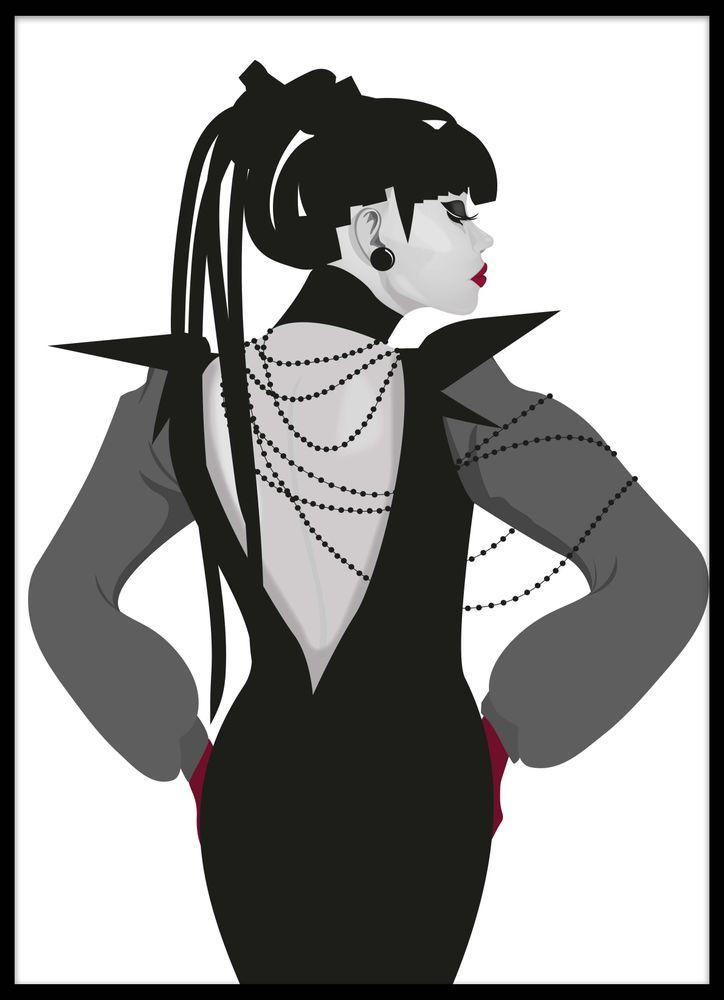 Kvinna med pärlor poster