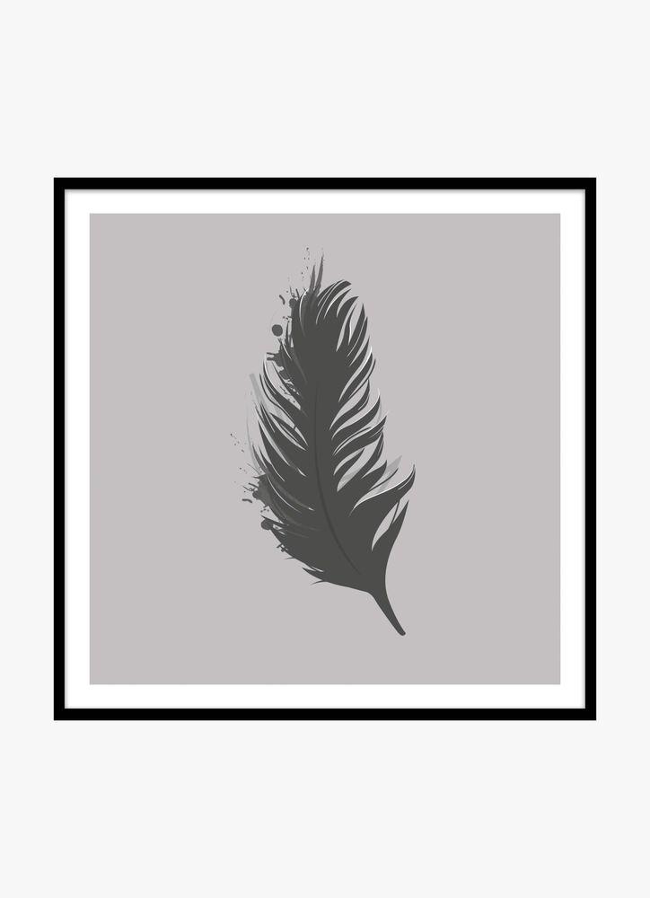 Fjäder svart poster