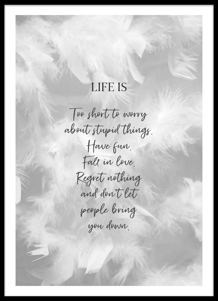 Feather life text poster