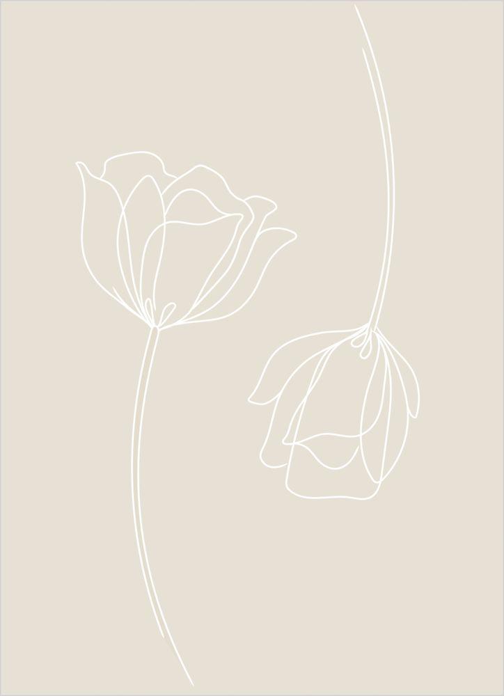 Blommor par beige poster