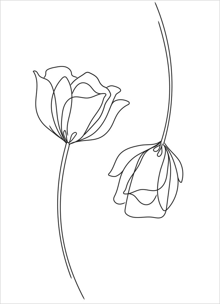 Blommor par vit poster
