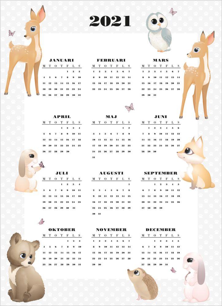 Forest animal calendar poster