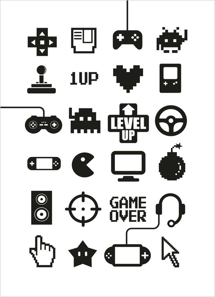 TV-spel ikoner poster