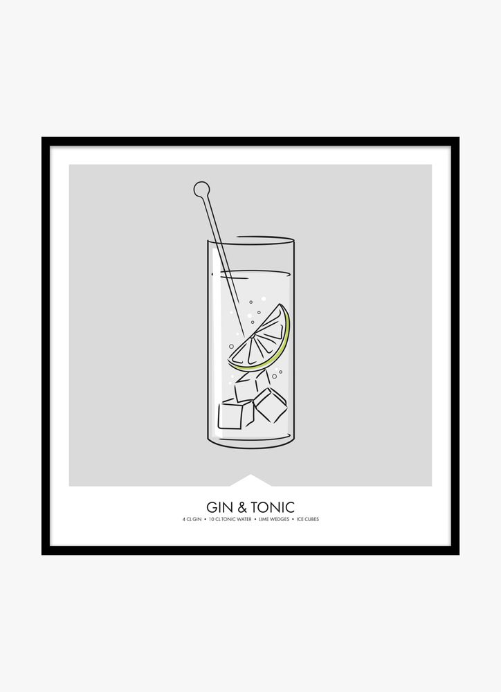 Gin & tonic drink poster