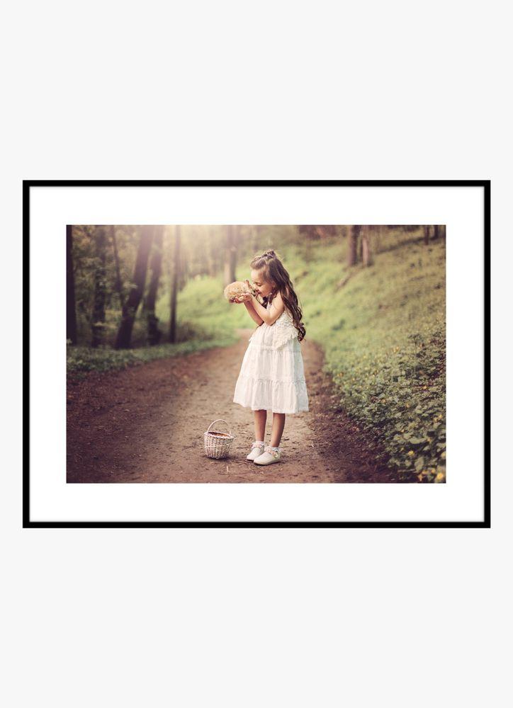Flicka med kanin poster
