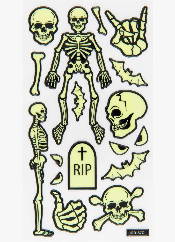 Självlysande klistermärken skelett