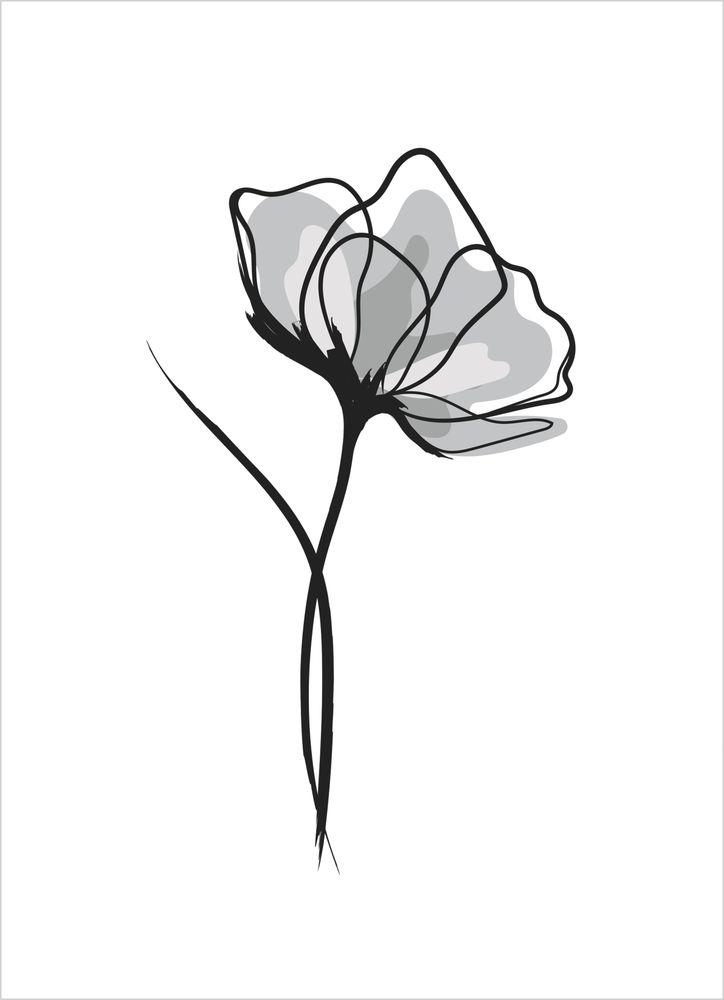 Grå blomma poster