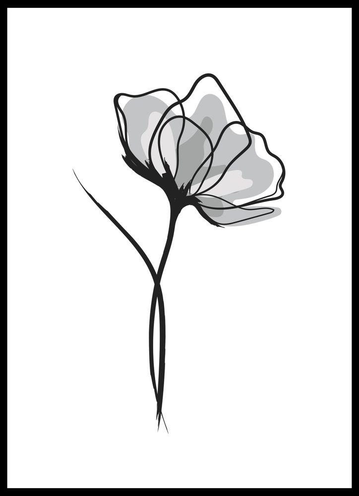 Grey flower poster