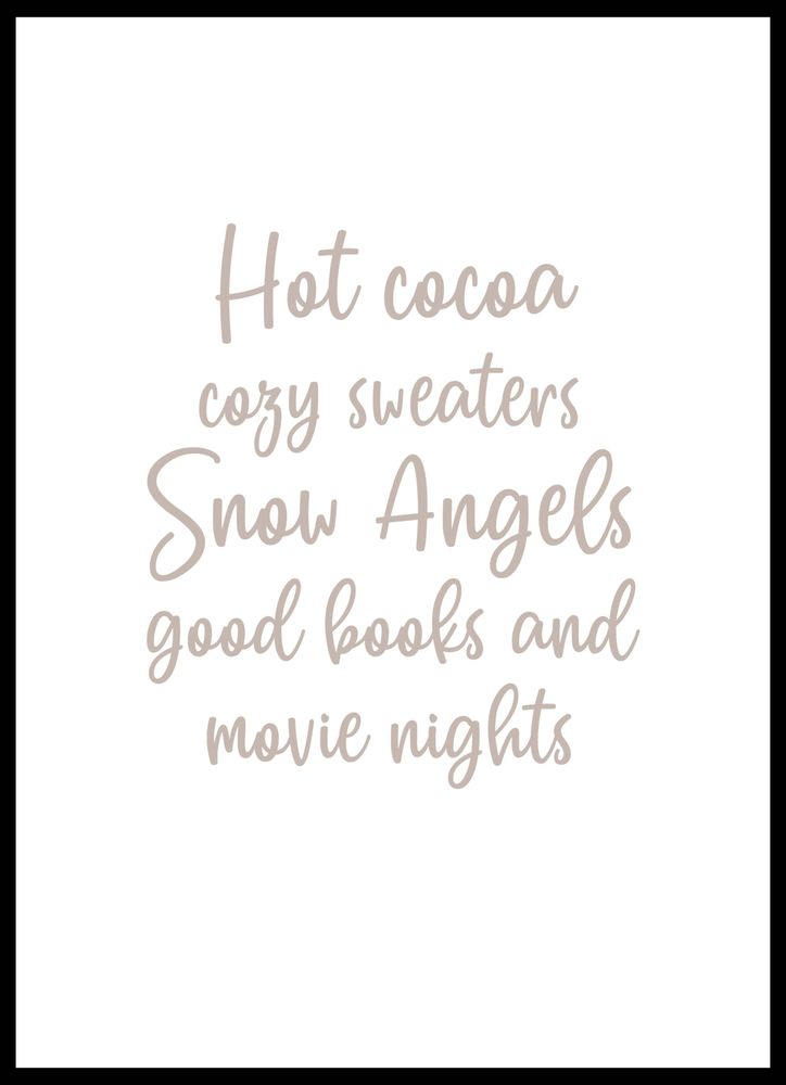 Hot cocoa text poster