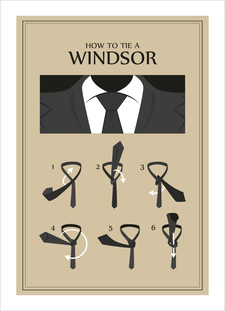 How to tie a windsor guide poster
