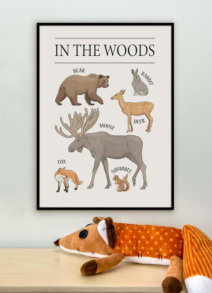 Djur i skogen poster