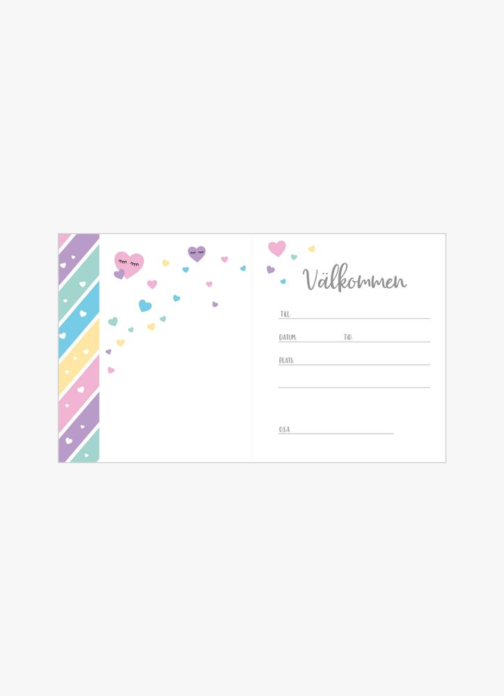 Fransar & färg inbjudningskort