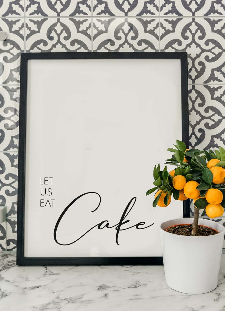 Let us eat cake text poster