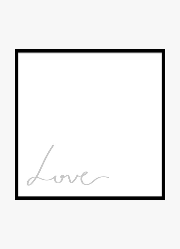 Love grey text poster