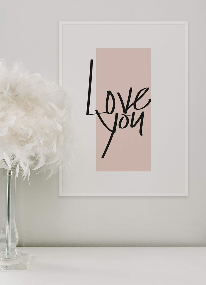 Love you black text poster