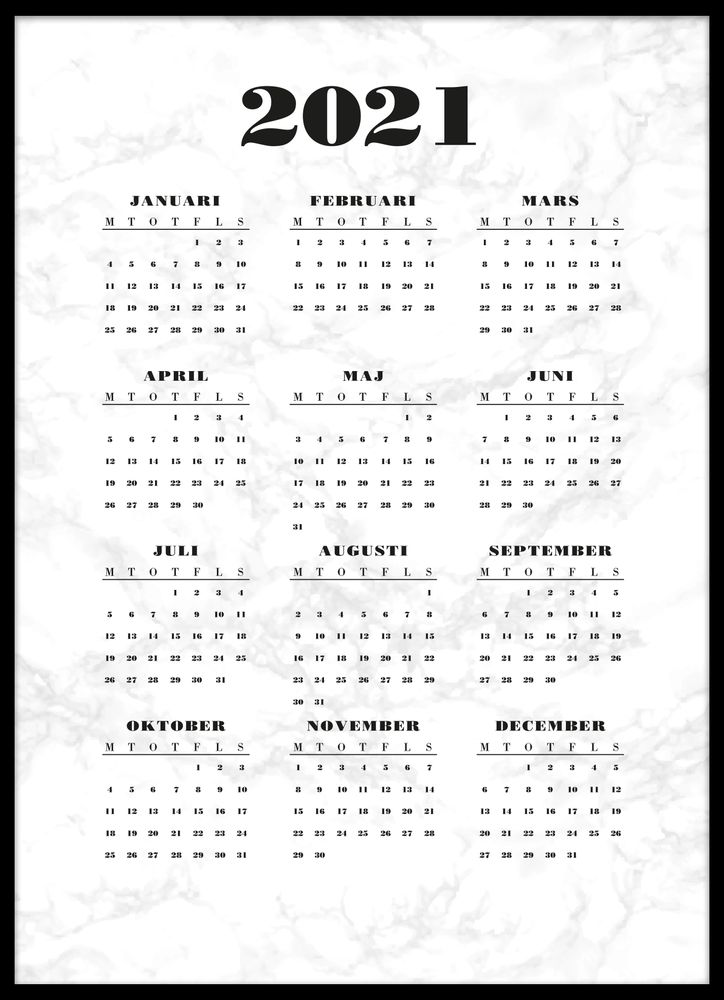 Marmor kalender poster