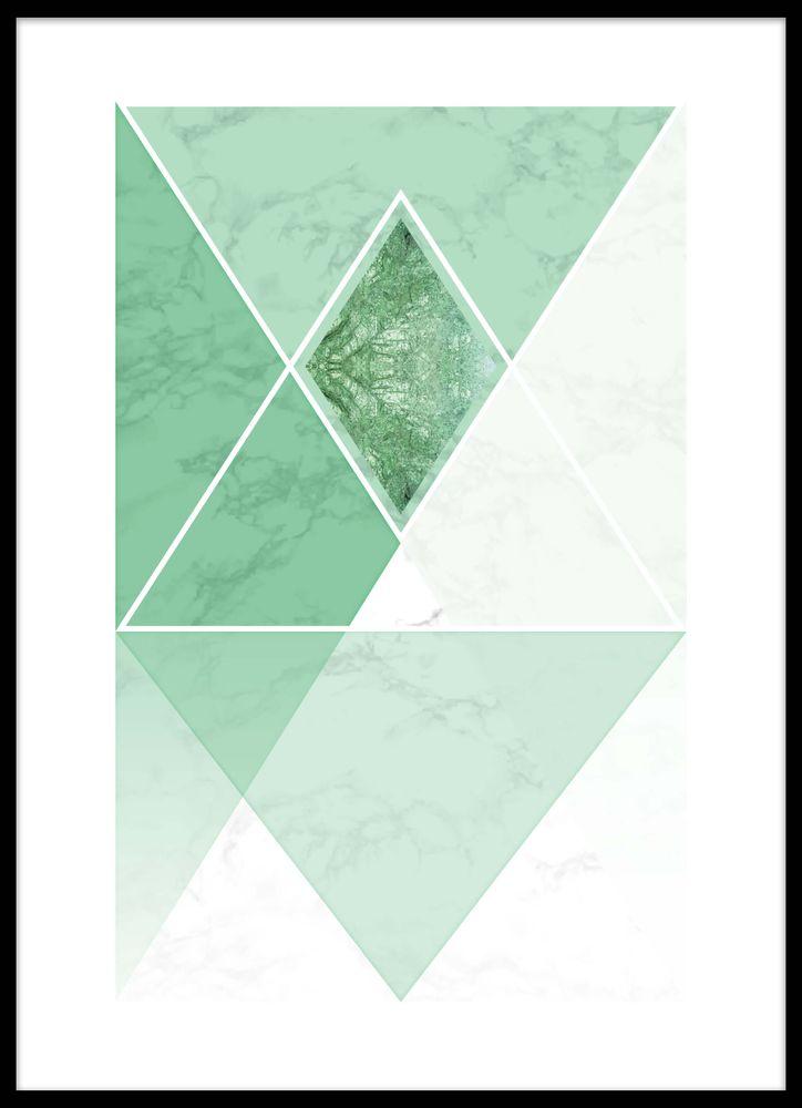 Marmor trianglar grön poster