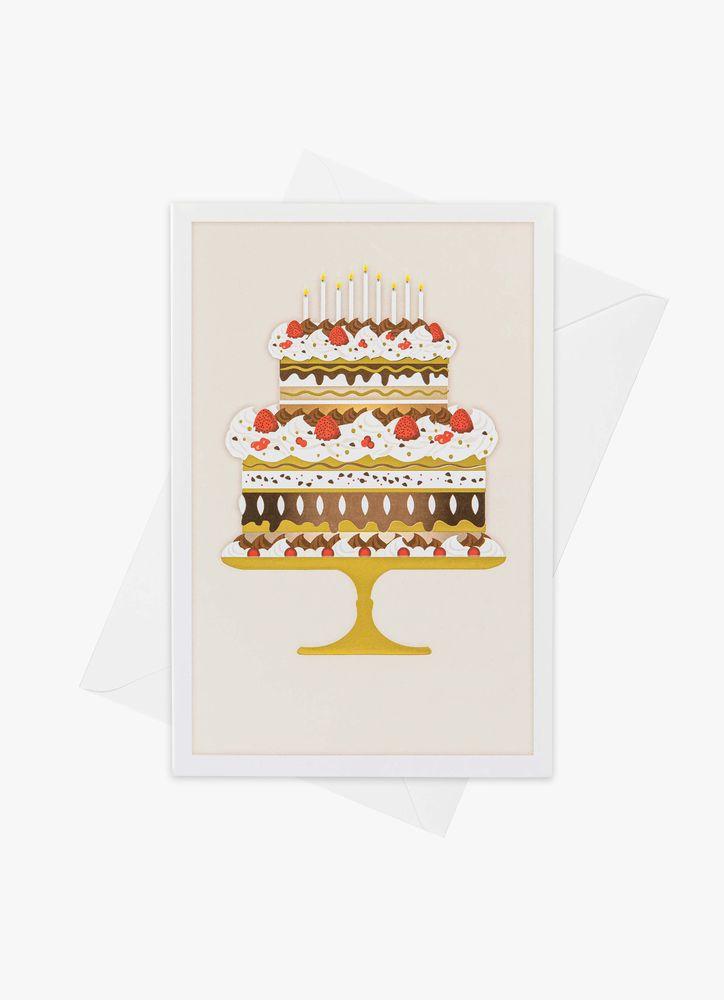 Födelsedagstårta i guld kort