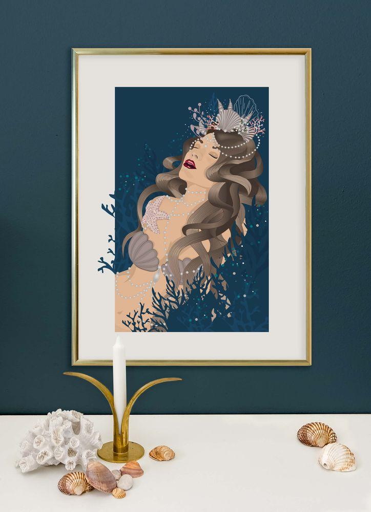 Sjöjungfru art deco poster