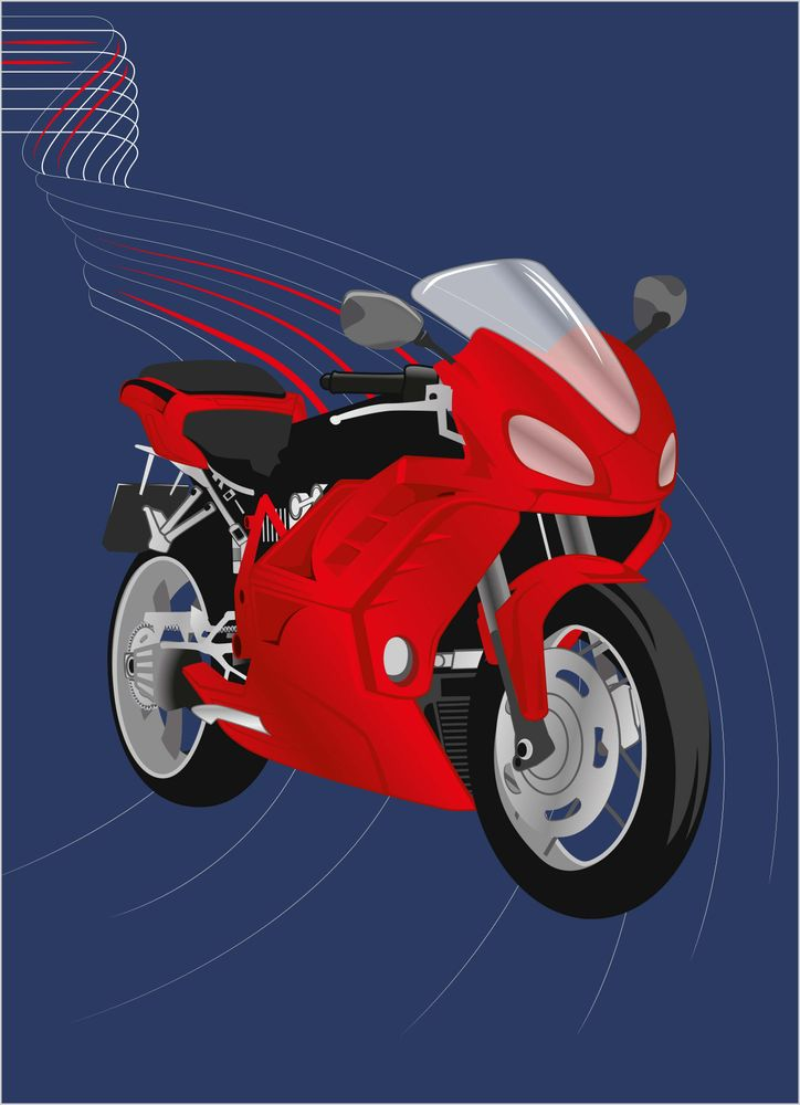 Motorcycle red poster