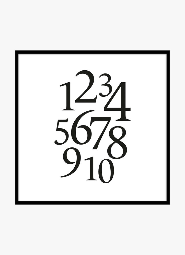 Numbers black poster