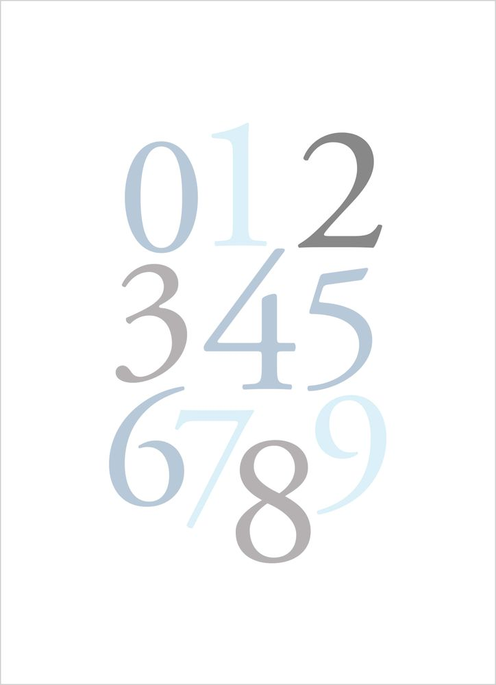 Numbers blue poster