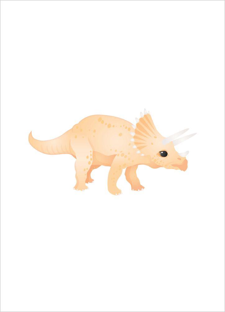 Orange triceratops dinosaurie poster