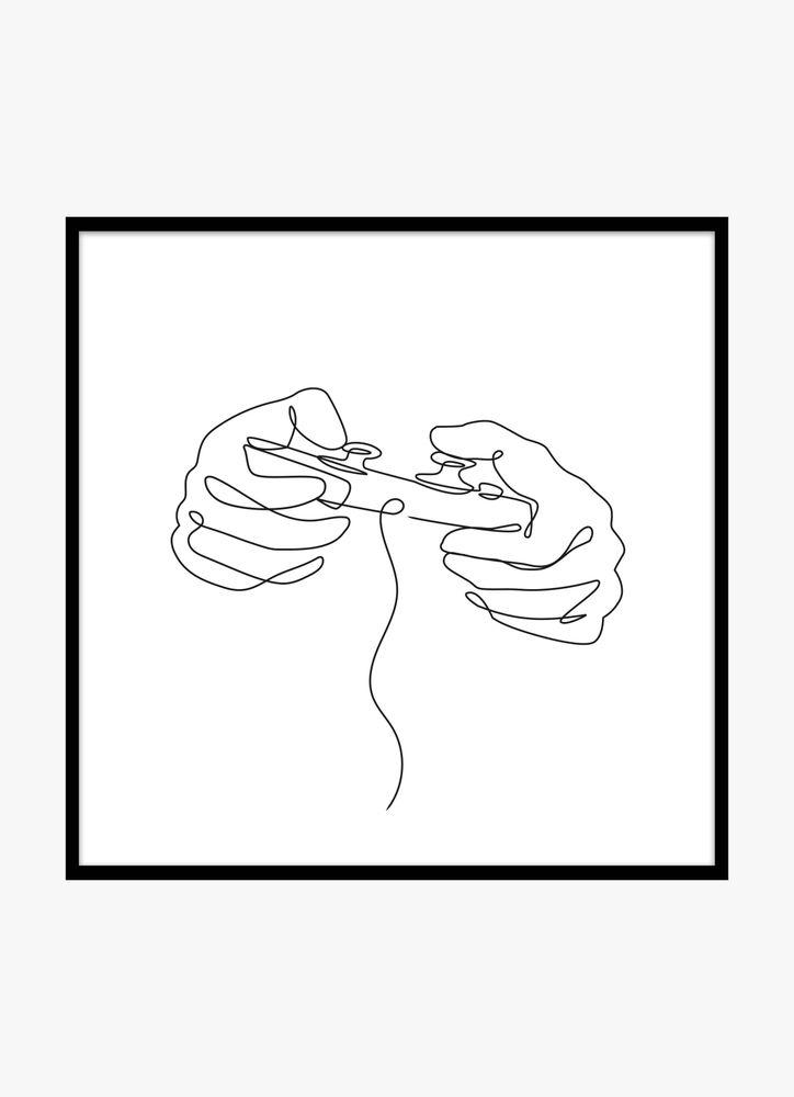 Skiss av TV-spelskontroll spelande händer poster