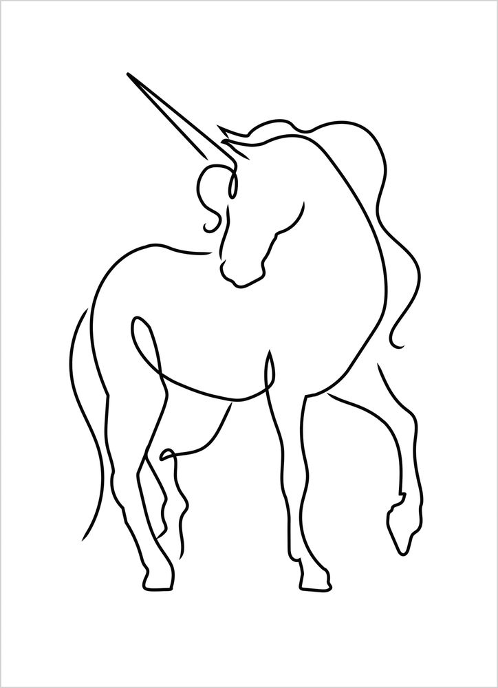 Outline unicorn poster