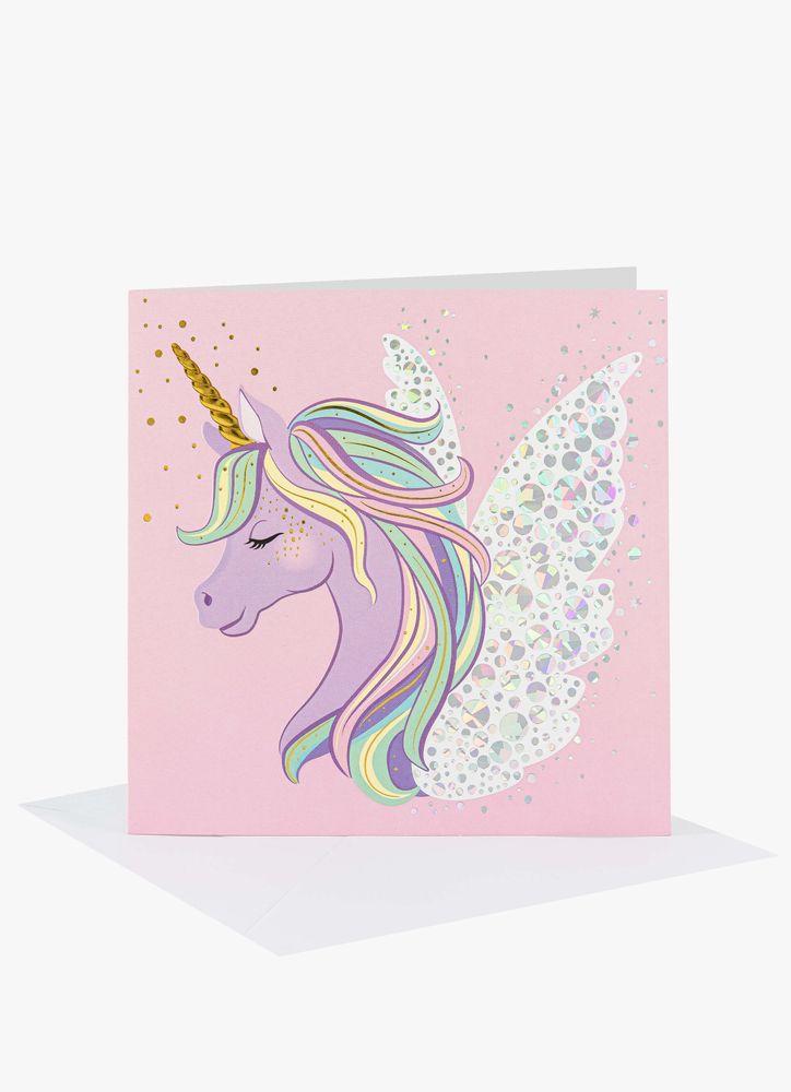 Pastell Enhörning gratulationskort