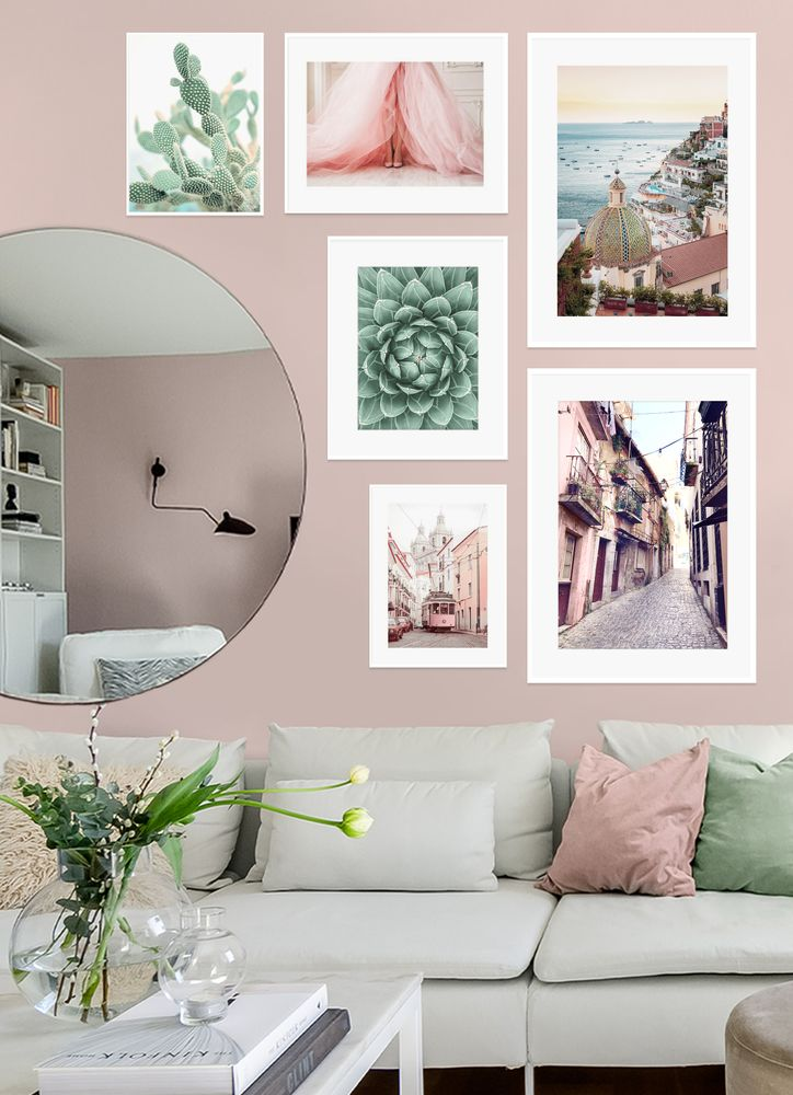 Pastel living room gallery wall poster