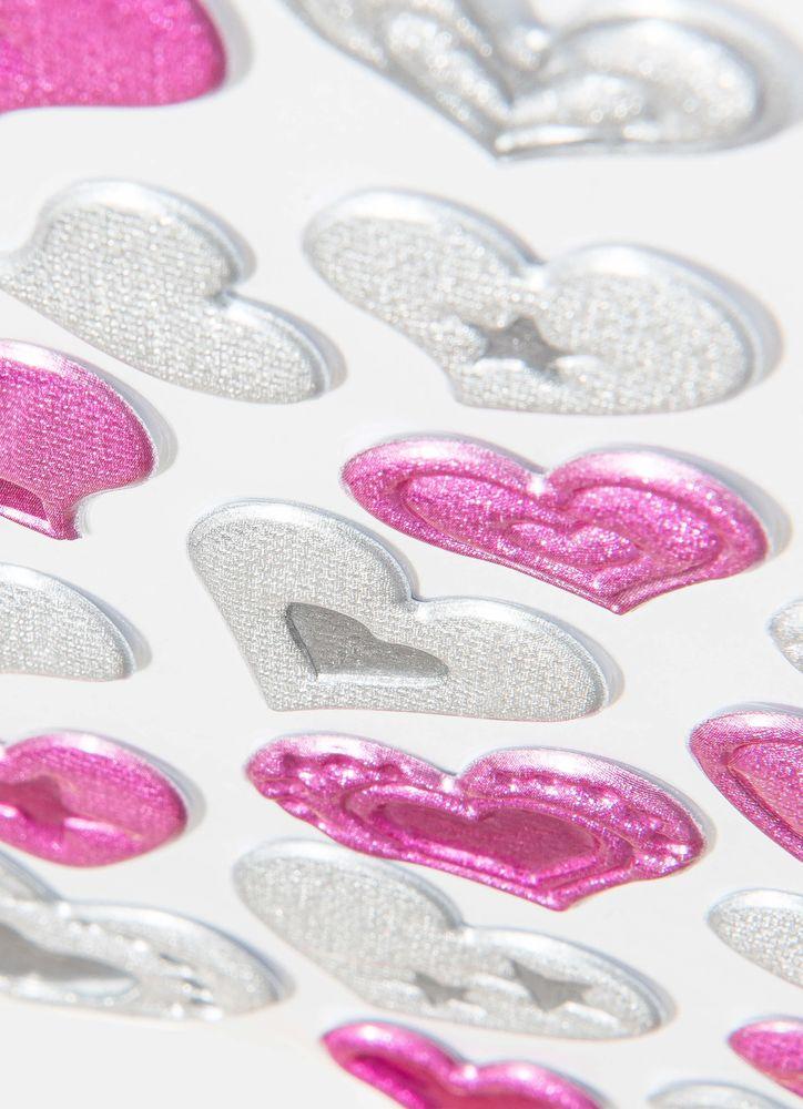 Klistermärken hjärtan rosa silver