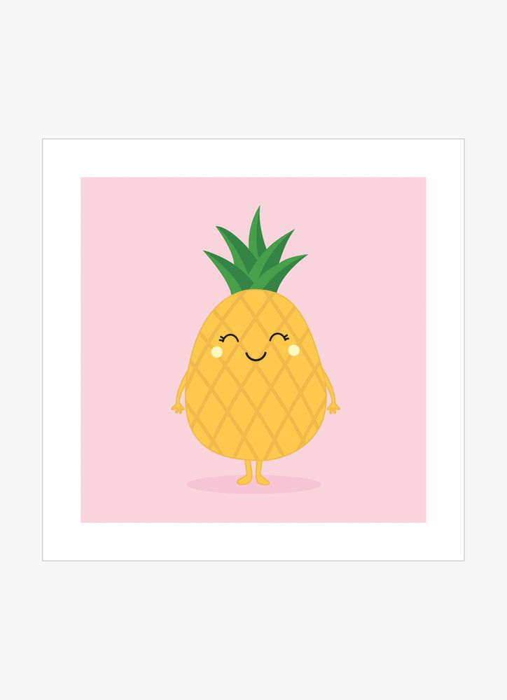 Pineapple with face poster