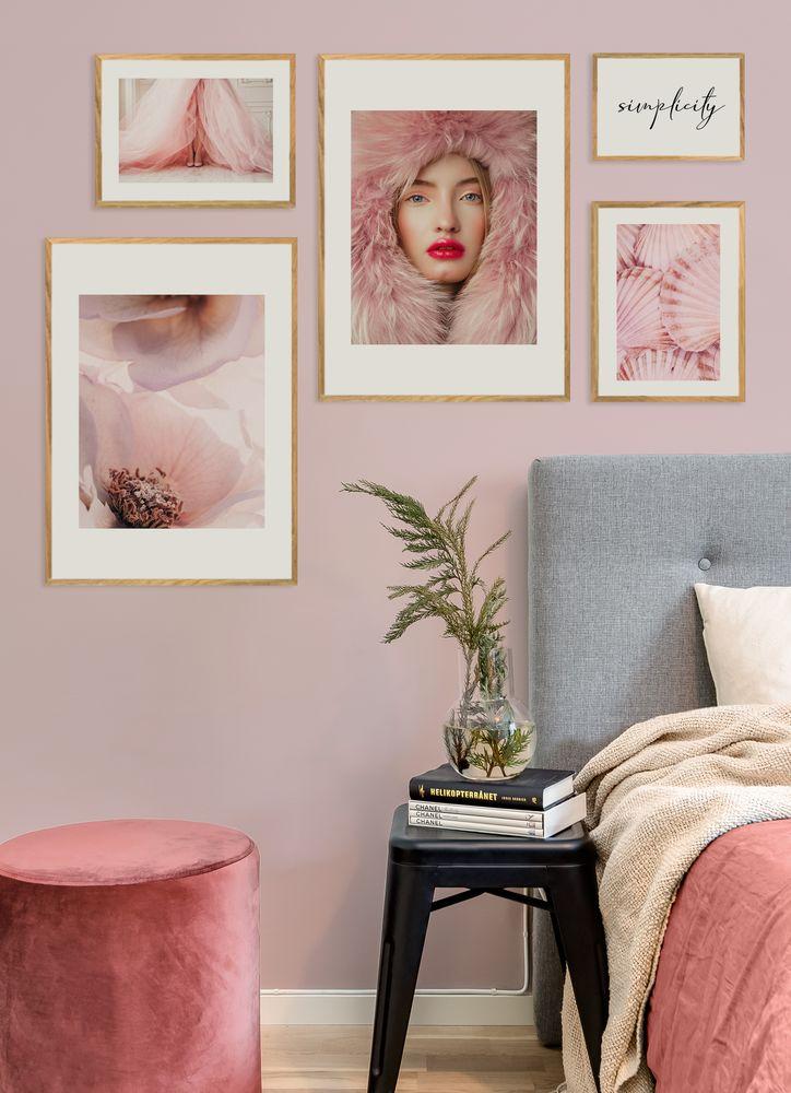 Sovrum rosa tavelvägg