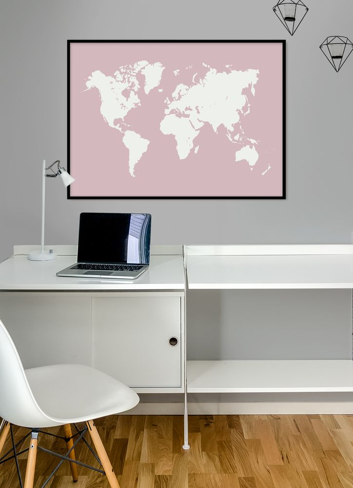 Pink map poster