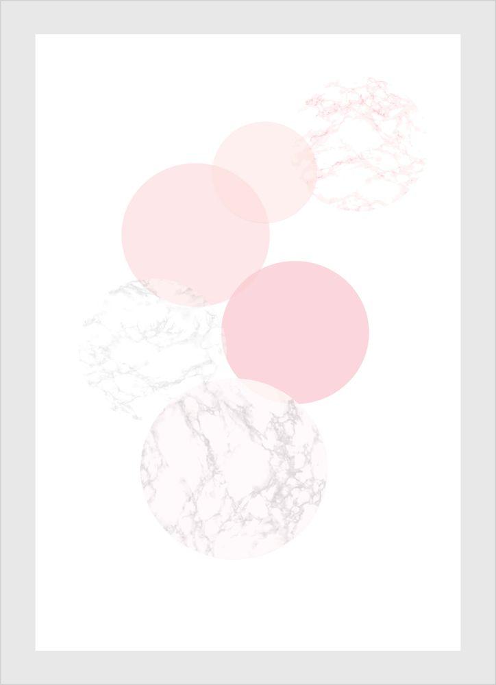 Rosa figurer cirklar marmor poster