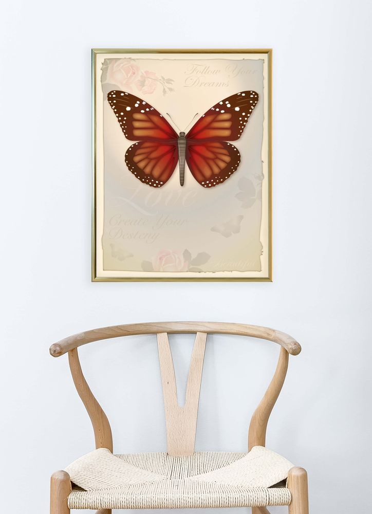 Retro butterfly poster