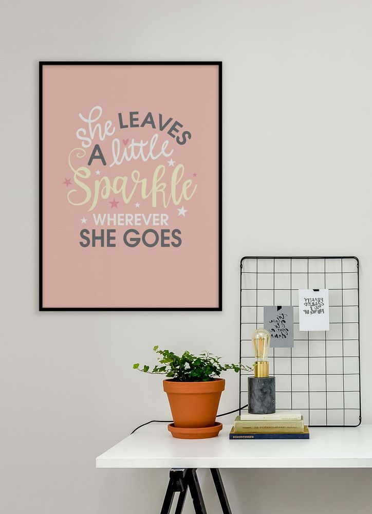 She leaves a little sparkle pink text poster