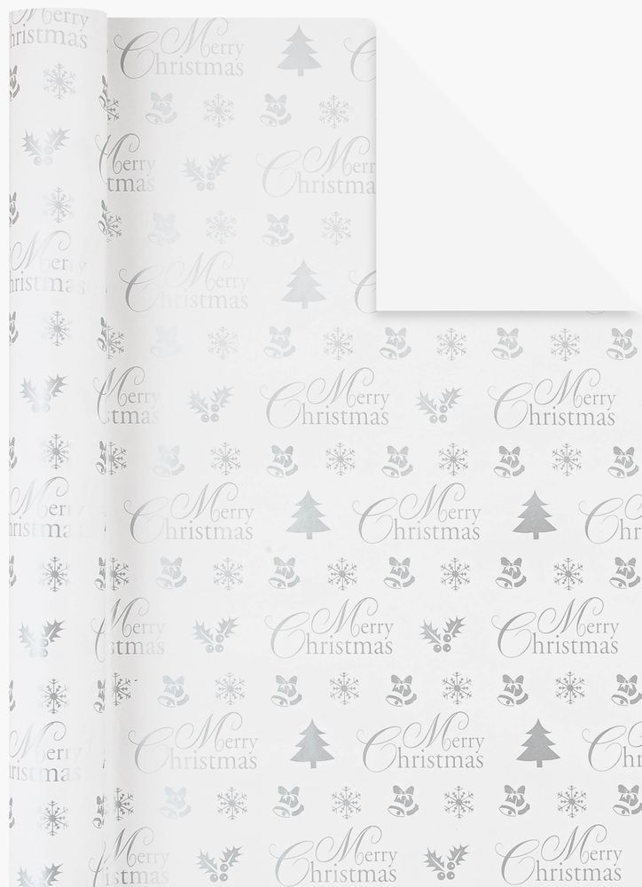 Presentpapper Merry Christmas silver
