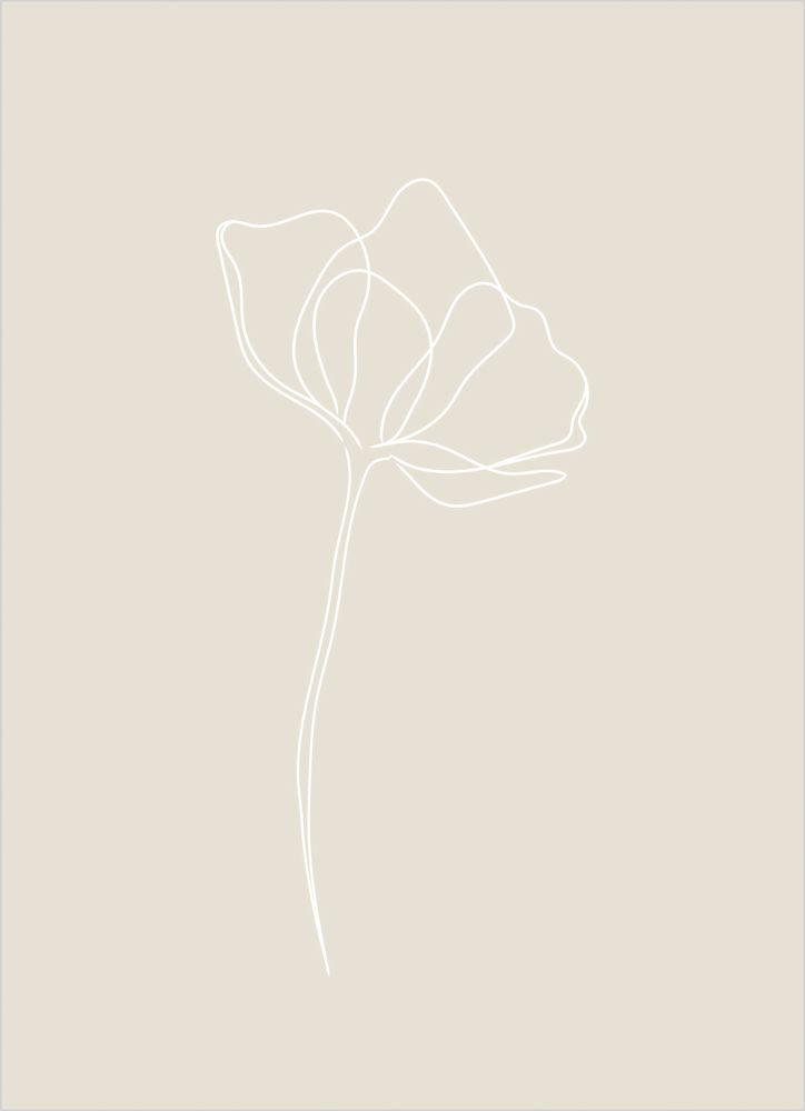 En blomma beige poster
