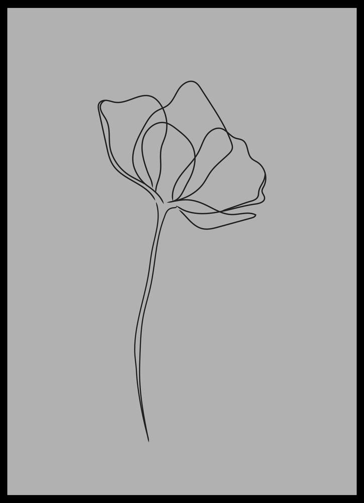 En blomma grå poster