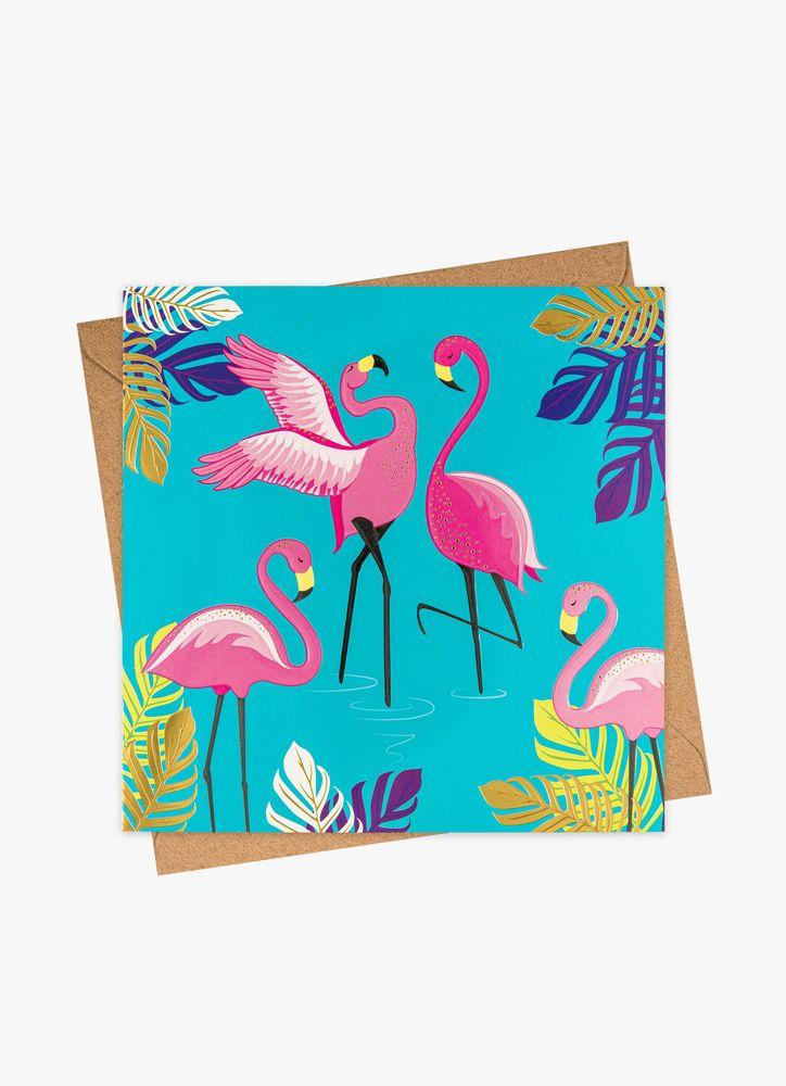 Flamingos turkos gratulationskort