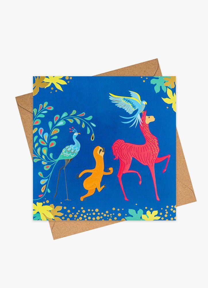 Lama & vänner gratulationskort