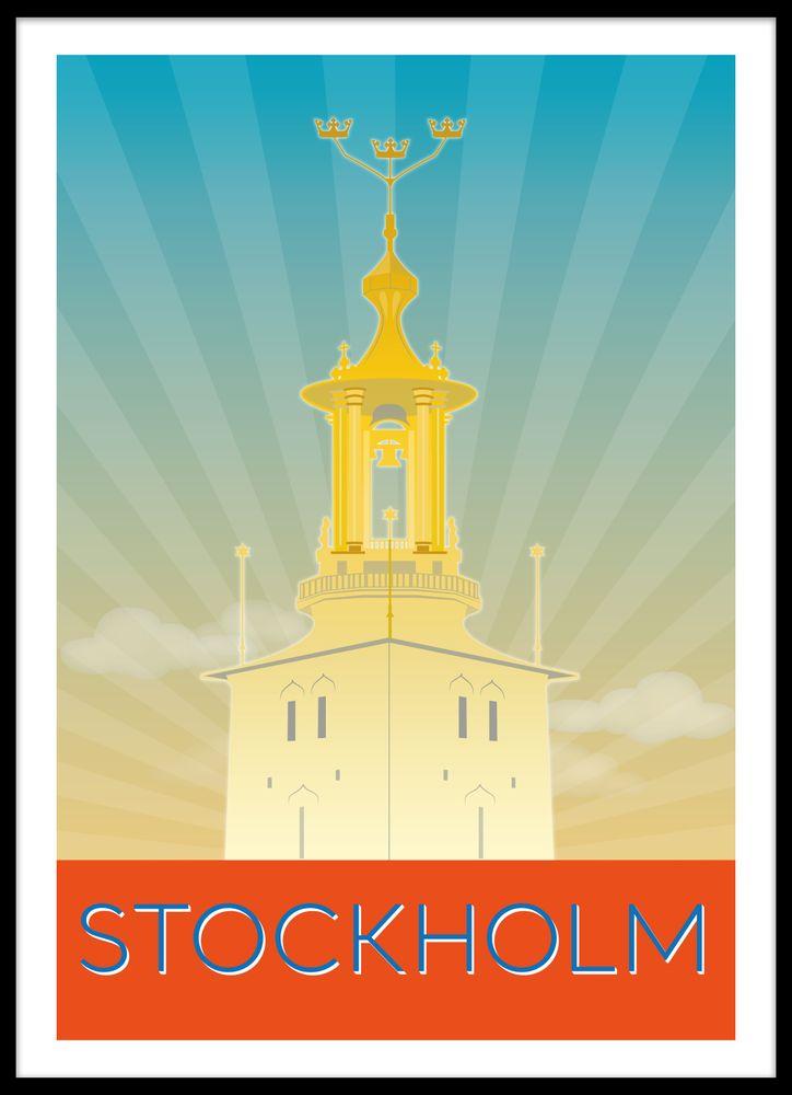 Stockholm retro poster