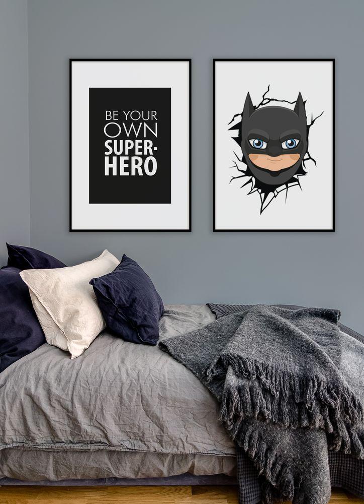Barnrum superhjältar tavelvägg