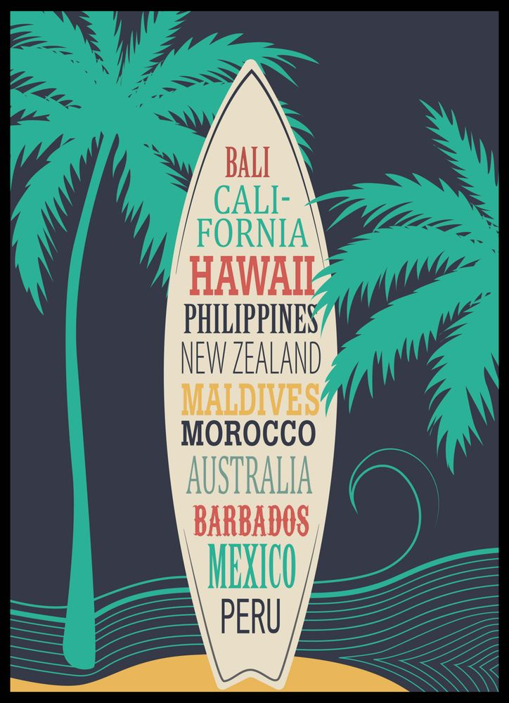 Surfboard with surf beaches text colour poster