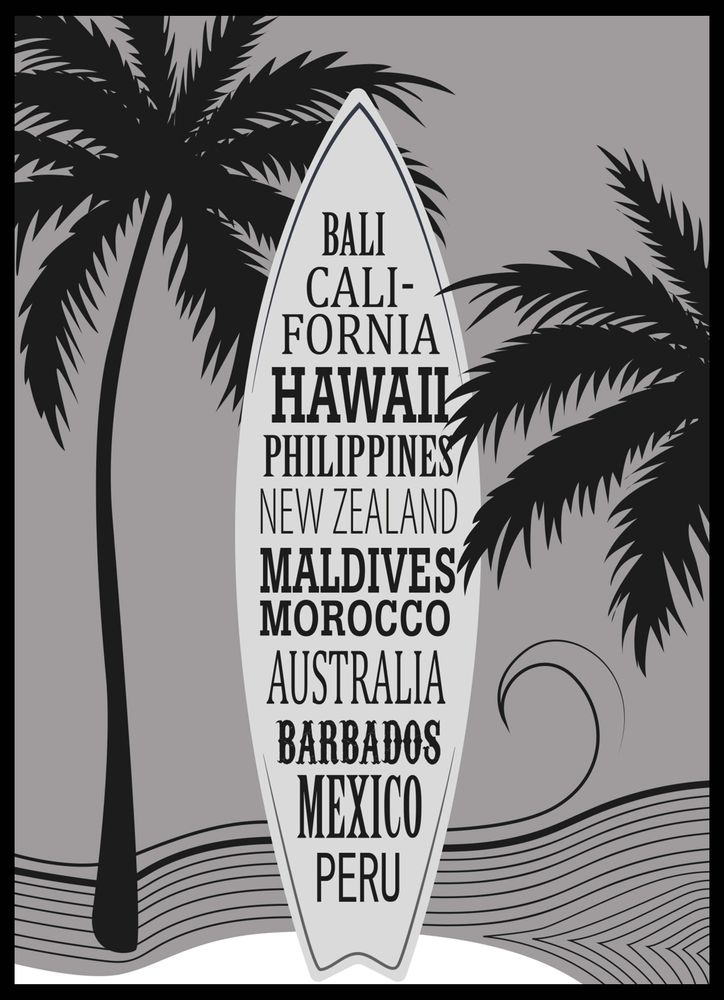 Surfboard with surf beaches text grey poster