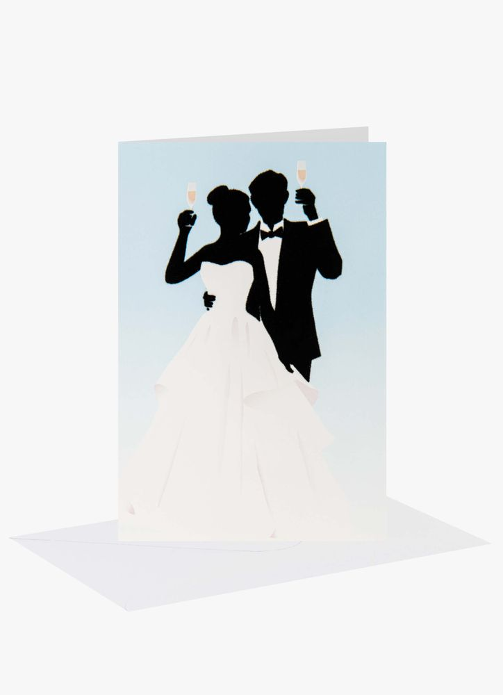 Skålande bröllopspar gratulationskort